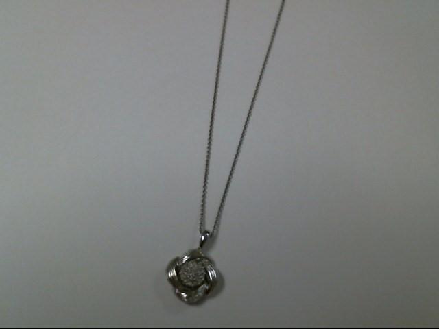 "18"" Diamond Necklace 19 Diamonds .19 Carat T.W. 925 Silver 3.3g"