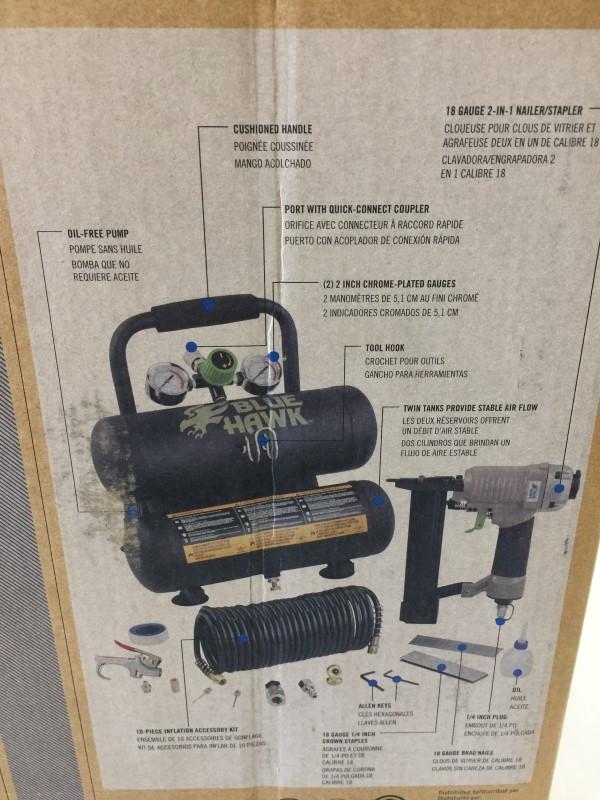 BLUE HAWK 0470440 3-HP 2-Gallon 125-PSI Portable Air Compressor