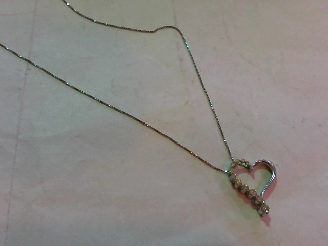 Diamond Necklace 12 Diamonds .32 Carat T.W. 14K White Gold 2.1g