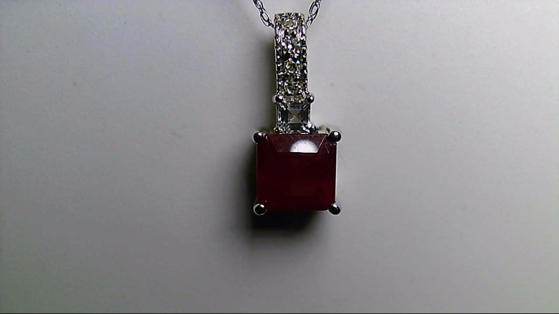 July Birthstone Ruby Gold-Diamond & CZ Stone 14K White Gold Pendant