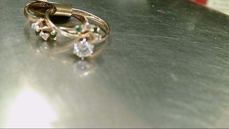Synthetic Emerald Lady's Stone & Diamond Ring 5 Diamonds .37 Carat T.W.