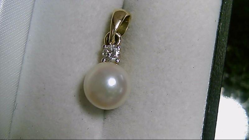 14K Yellow Gold Pearl & Cubic Zirconia Pendant