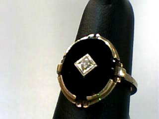 Onyx Lady's Stone Ring 10K Yellow Gold 1.9dwt Size:6.3
