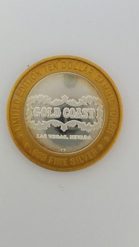 Limited Edition Gold Coast Casino Las Vegas $10 Ten Gaming Token .999 Silver 36g
