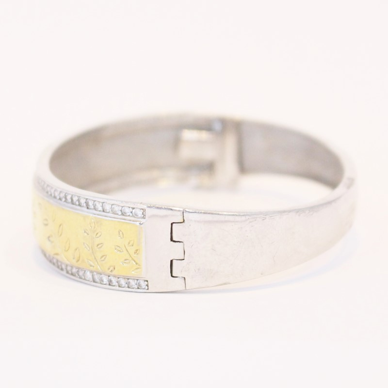 "8"" STERLING SILVER (925) BRACELET W/GOLD ACCENTS,"