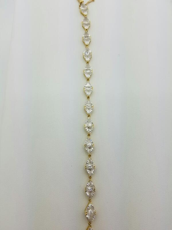 TENNIS_BCT_W/CZ'S White Stone Gold-Stone Bracelet TENNIS_BCT 14K Yellow Gold