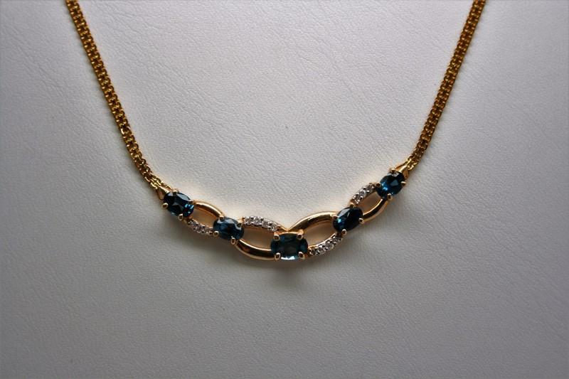 FASHION STYLE NECKLACE DIAMOND W/ BLUE TOPAZ 14K YELLOW GOLD