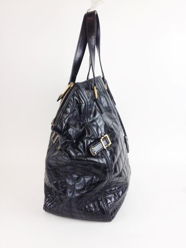 YVES SAINT LAURENT Handbag BLACK DOWNTOWN CALF LEATHER CROC PRINT LARGE BAG