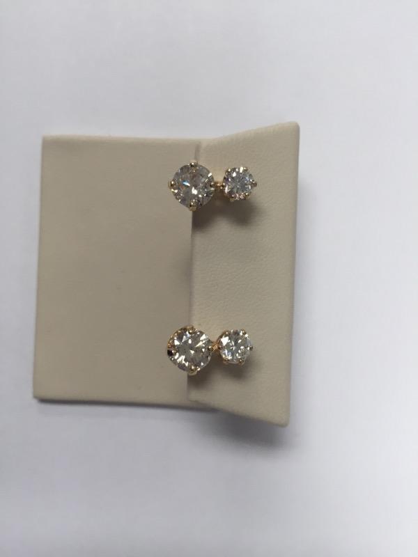 Gold-Diamond Earrings 4 Diamonds 2.60 Carat T.W. 14K Yellow Gold 2.8g