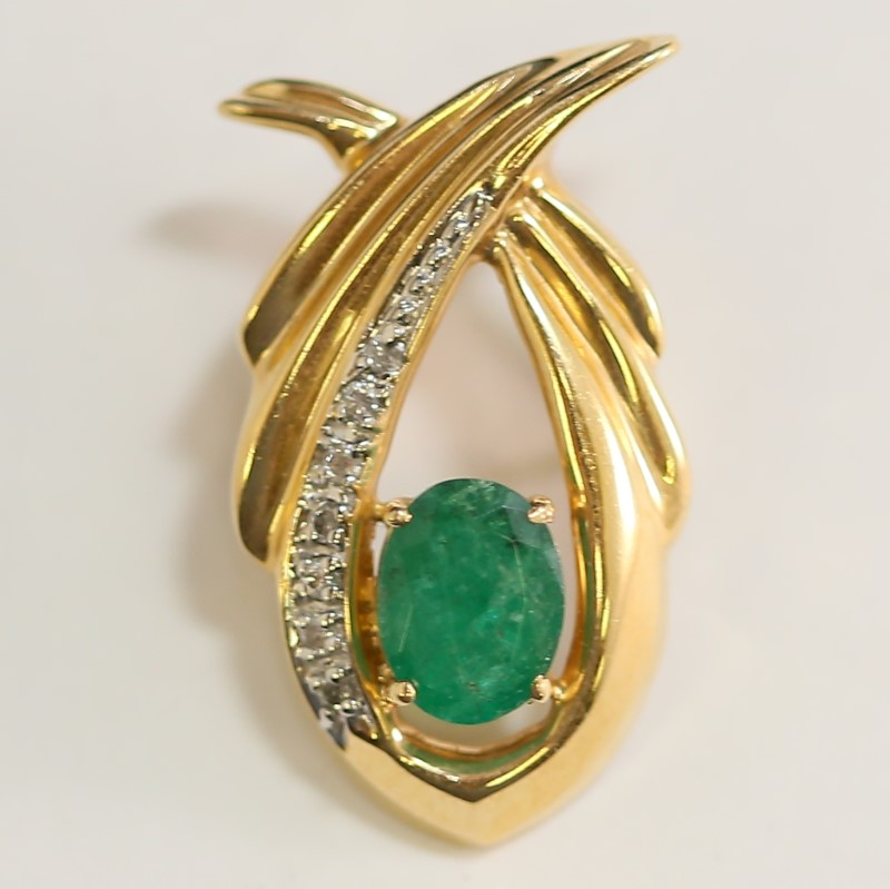 Unique 14K Yellow Gold Emerald and Channel Set Diamond Pendant
