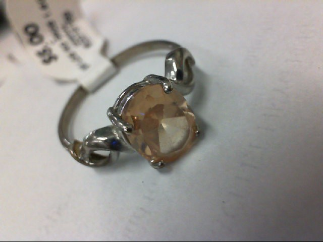 Yellow Stone Lady's Silver & Stone Ring 925 Silver 1.6g