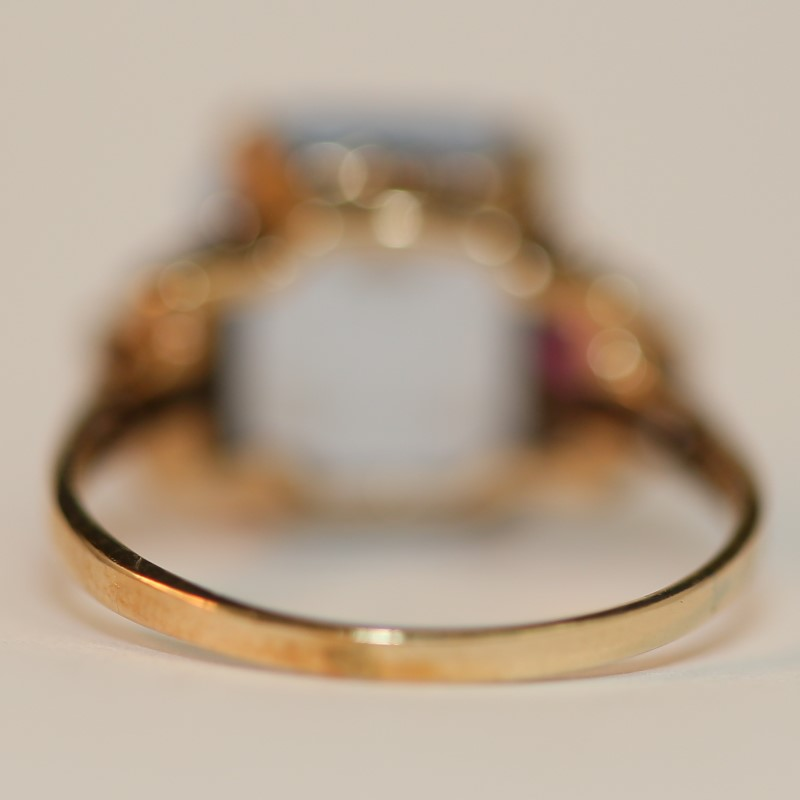 10K Yellow Gold Aquamarine and Pink Stone Ring Size 7.75