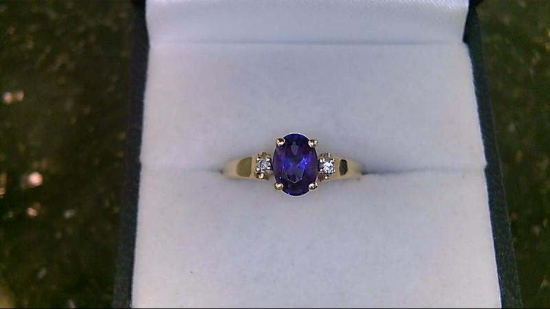 Synthetic Amethyst Lady's Stone & Diamond Ring 2 Diamonds