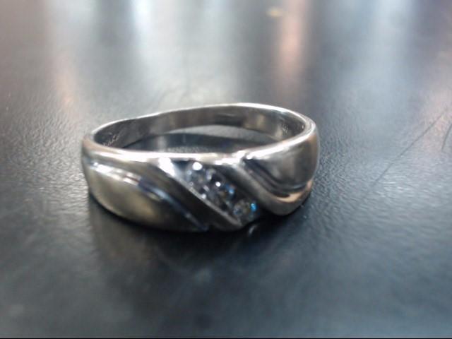 Gent's Gold-Diamond Wedding Band 3 Diamonds .15 Carat T.W. 14K White Gold 6.2g