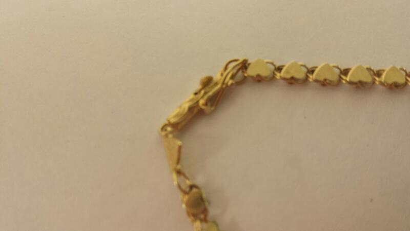 "14K-Y/G Fashion Bracelett ""Hearts"" 9"""