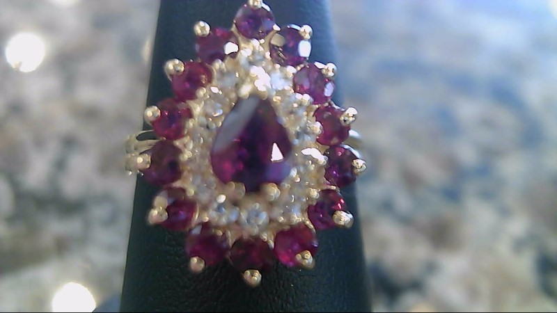 Synthetic Ruby Lady's Stone & Diamond Ring 14 Diamonds .42 Carat T.W.