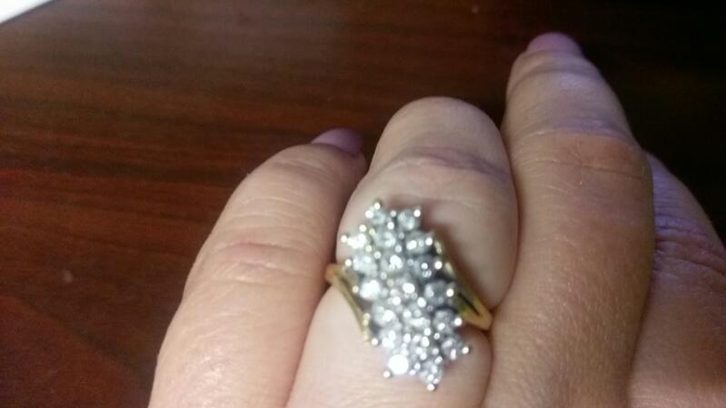 Lady's Diamond Cluster Ring 19 Diamonds 3.00 Carat T.W. 14K Yellow Gold 5.2g