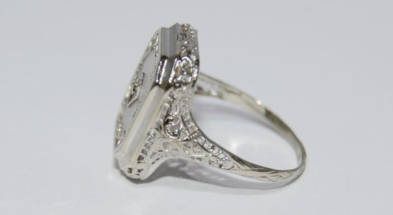 14K White Gold Vintage Inspired Ornate Filigree Cut Acrylic Backed Diamond Ring