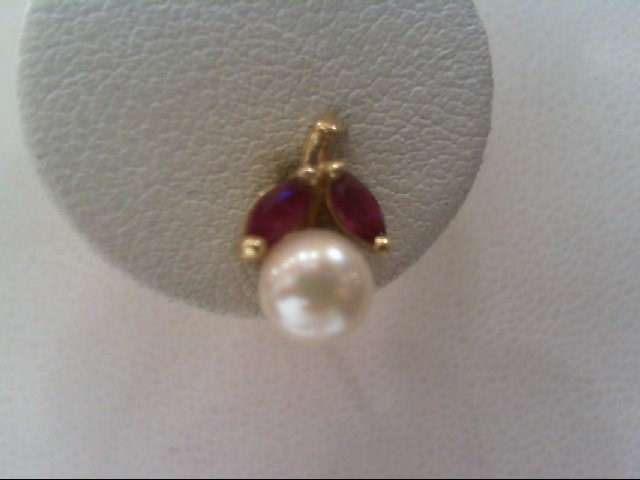 Pearl Gold-Stone Earrings 14K Yellow Gold 1.7g
