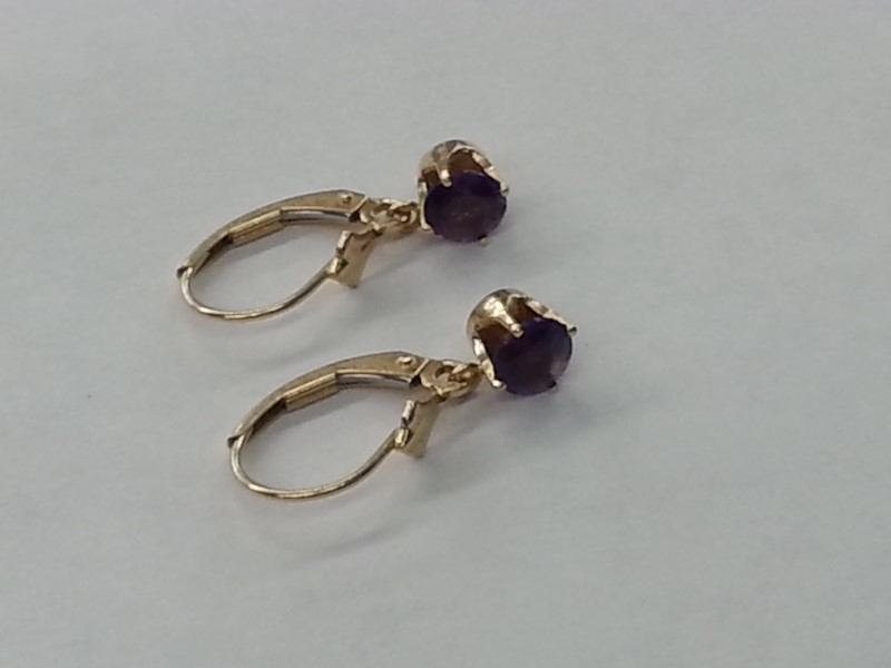 Amethyst Gold-Stone Earrings 14K Yellow Gold 1.5g