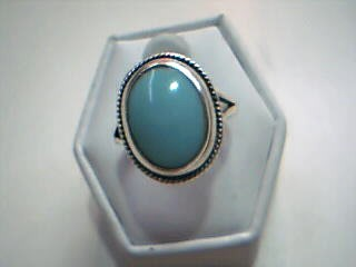 Synthetic Turquoise Lady's Silver & Stone Ring 925 Silver 4.9g Size:5