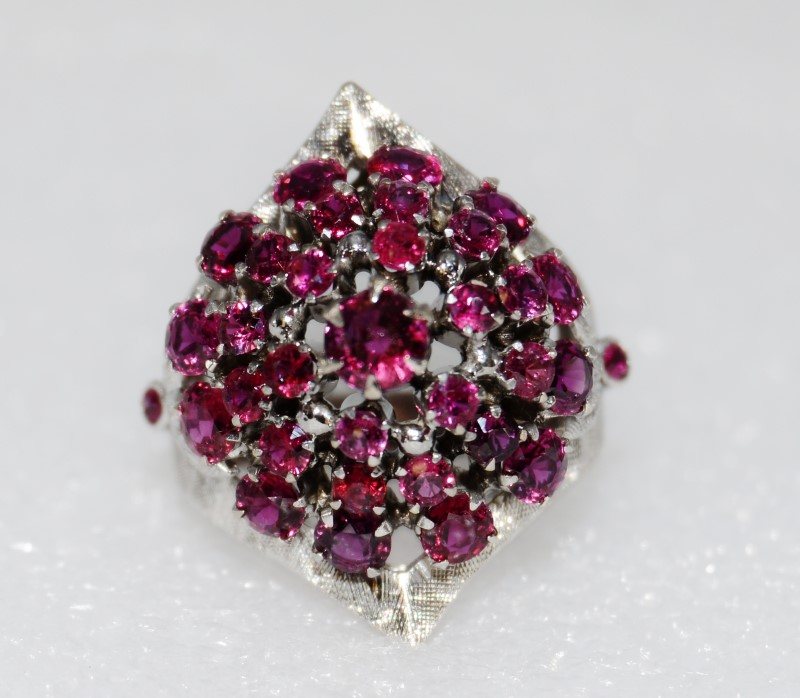Vintage Natural Ruby Thai Princess Harem Ring 18K White Gold Size 6.25