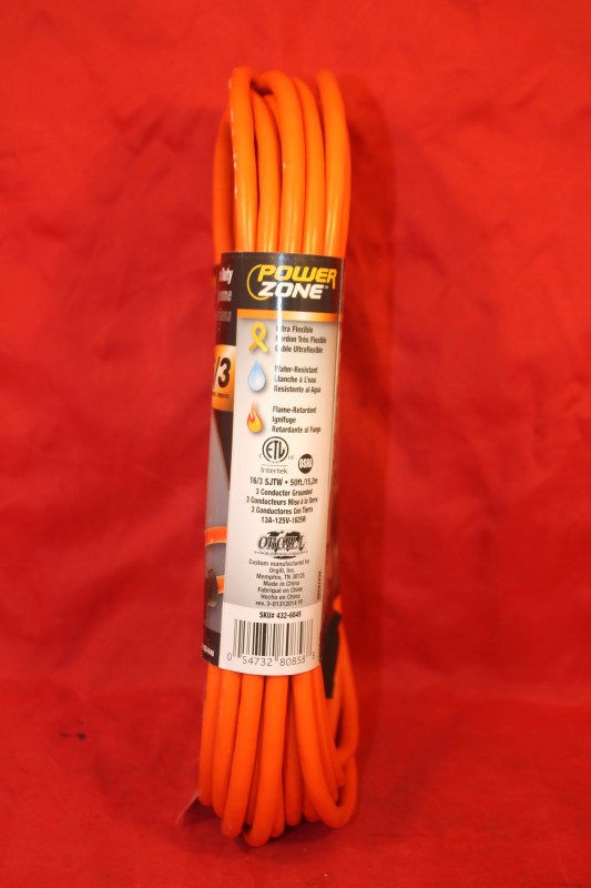 Cord Ext Outdoor 16/3x50ft Org,No OR501630, Powerzone