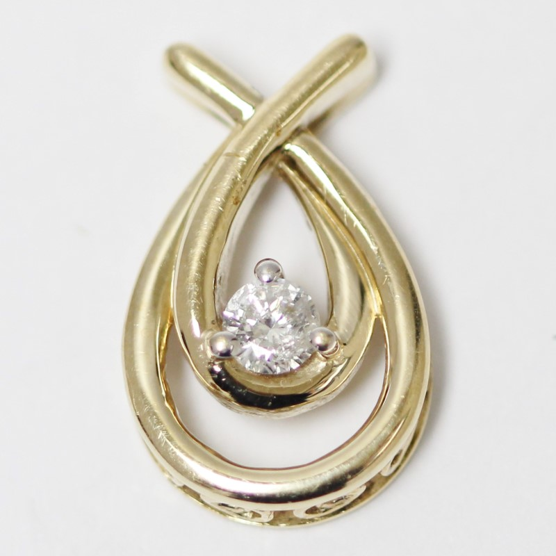 10K Women's Yellow Gold Diamond Solitaire Tear Drop Pendant