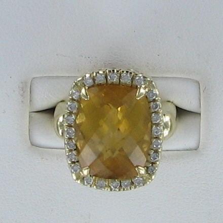 Yellow Stone Lady's Stone & Diamond Ring 24 Diamonds .48 Carat T.W.