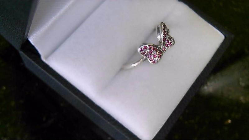 Pandora Disney Ruby Diamond Sterling Silver Ring Sz 7