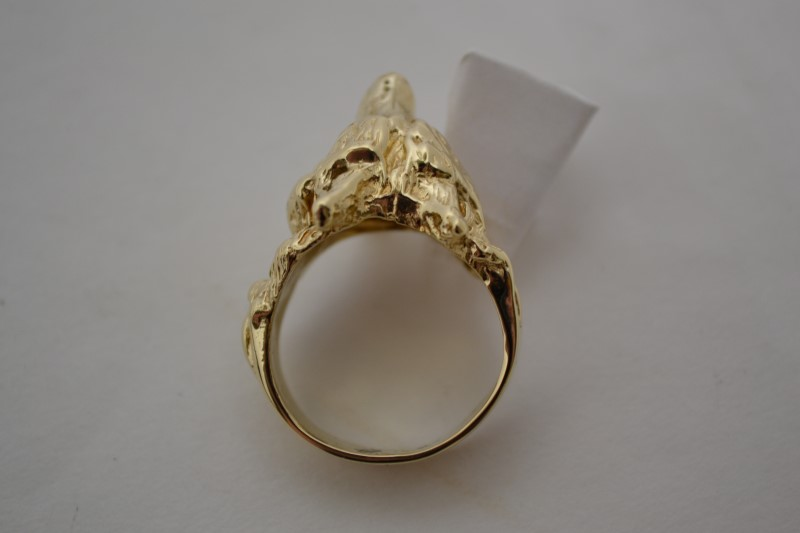 Gent's Diamond Wolf Ring 3 Diamonds .31 Carat T.W. 14K Yellow Gold 17.7g