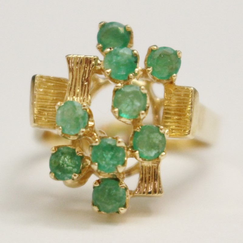 14K Yellow Gold Round Cut Emerald Cluster Ring Size 5.75