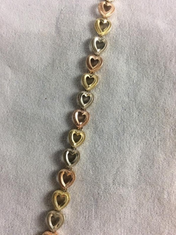 """Beautiful Tri Color 10K Gold Heart Fashion Bracelet 8.75"""" Inches 7.03 Grams 6 mm"""