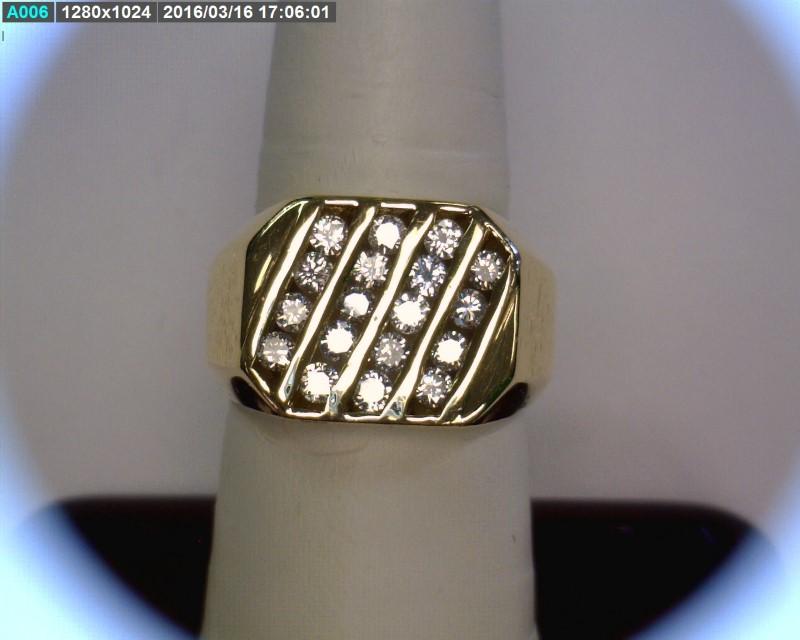 Gent's Diamond Cluster Ring 18 Diamonds 1.08 Carat T.W. 14K Yellow Gold 7.32dwt