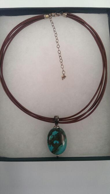 "16"" Synthetic Turquoise Stone Necklace 925 Silver 20.6g"