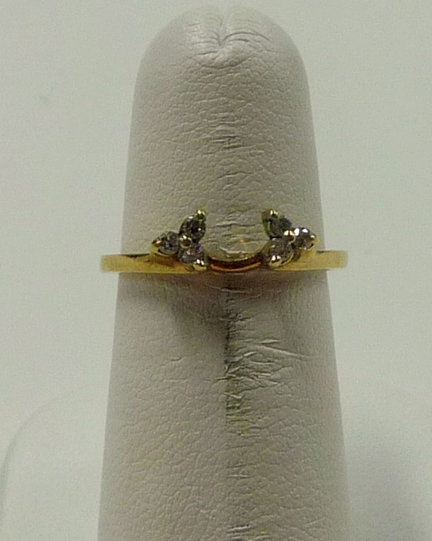 Lady's Gold-Diamond Ring Guard 6 Diamonds .06 Carat T.W. 10K Yellow Gold