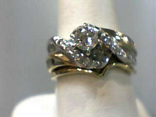 Lady's Diamond Wedding Set 31 Diamonds 1.00 Carat T.W. 14K 2 Tone Gold 5.9dwt