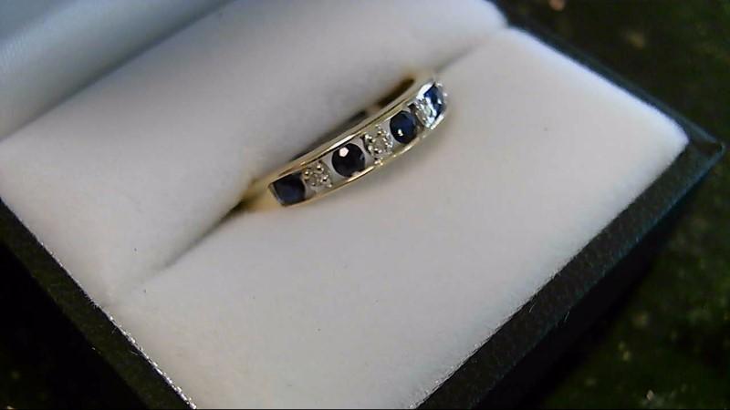 Blue Sapphire and Diamond 14K Yellow Gold Wedding Band