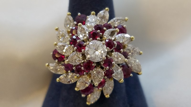 Antique Ruby Lady's Stone & Diamond Ring 21 Diamonds 6.07 Carat T.W.