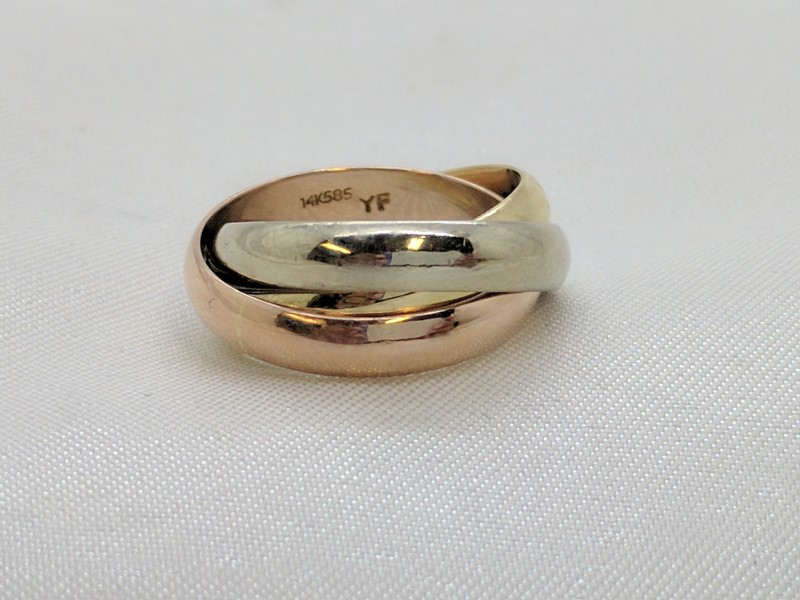 Lady's Gold Ring 14K Tri-color Gold 6.4g Size:5