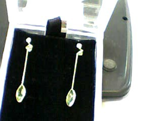 Synthetic Peridot Gold-Stone Earrings 14K Yellow Gold 0.7dwt