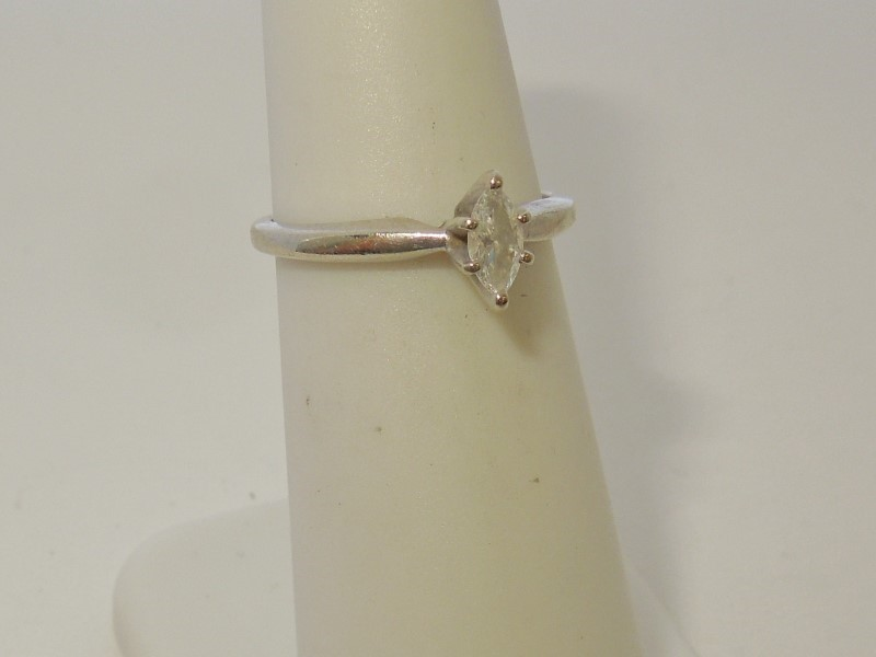 Lady's Diamond Solitaire Ring .17 CT. 10K White Gold 1.6g