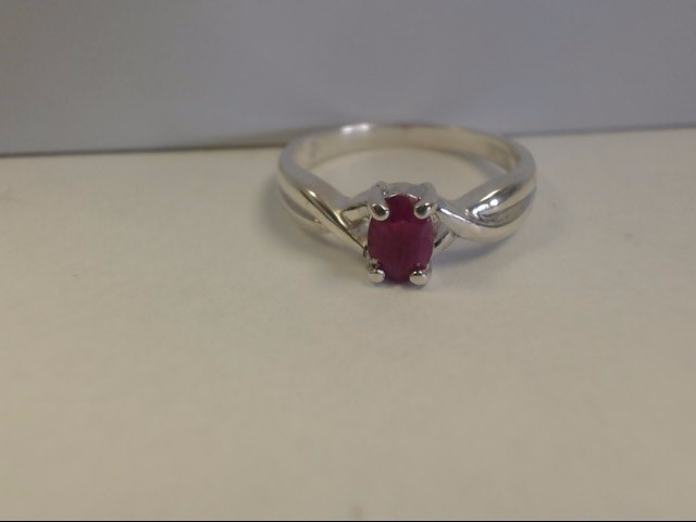 Ruby Lady's Silver & Stone Ring 925 Silver 2.2g Size:6