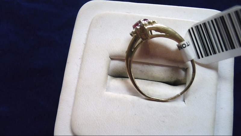 Red Stone Lady's Stone Ring 10K Yellow Gold 2.8g Size:8