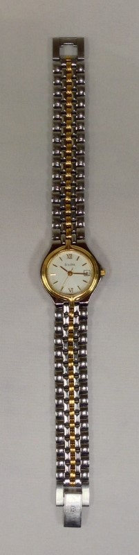 Ladies Bulova Sunray Two Tone White Dial Quartz Wrist Watch 98M02