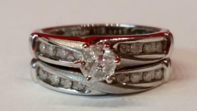 Lady's Diamond Wedding Set 18 Diamonds .62 Carat T.W. 14K White Gold 5.03g