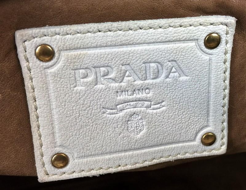 PRADA STUDDED WHITE LEATHER SHOULDER BAG