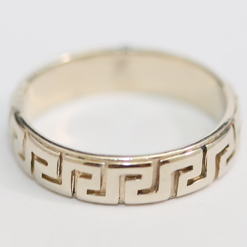 Men's 14K White Gold Geometric Aztec Tribal Style Ring Band Size 11