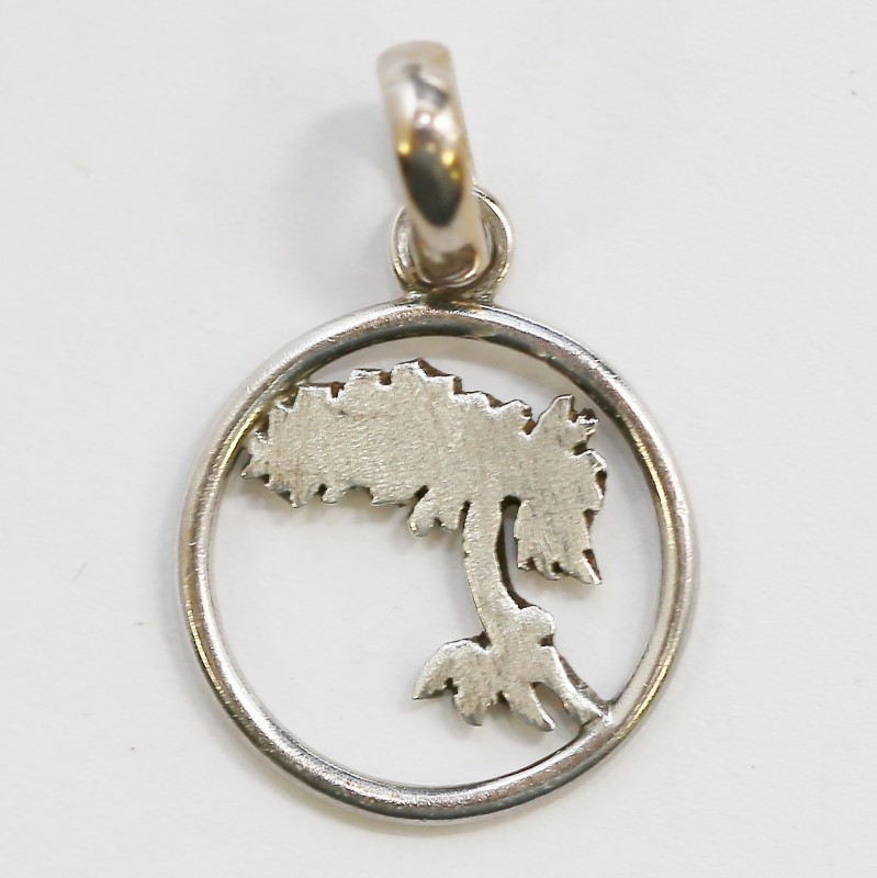 """TROPICAL PALM TREE 3/4"""" ROUND PENDANT, STERLING SILVER."""