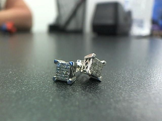 Gold-Diamond Earrings 18 Diamonds .36 Carat T.W. 10K White Gold 2.1g